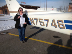 Vicki with her airplane